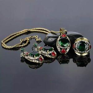 🎀New Green Emerald Beauty Set Earrings Ring Size8